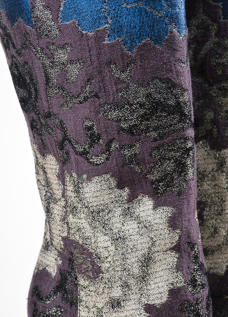 Etro Brown, Green, and Blue Brocade Tall Knee High Boots Detail
