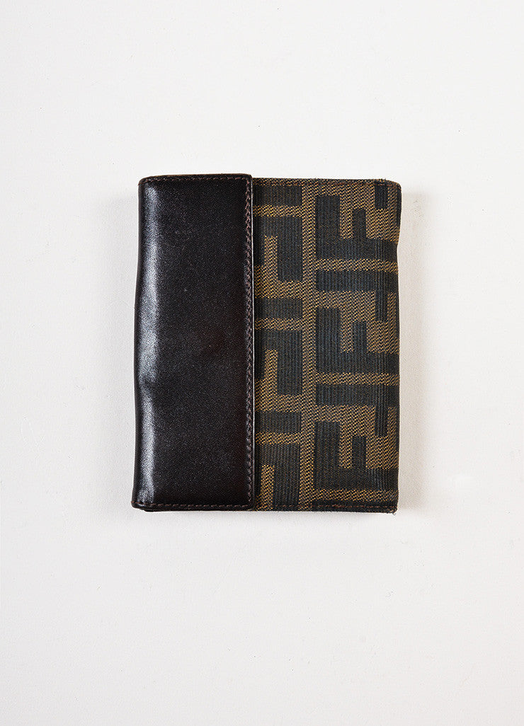 "Fendi Brown ""Tobacco"" Zucca Patterned Fold Over Wallet"