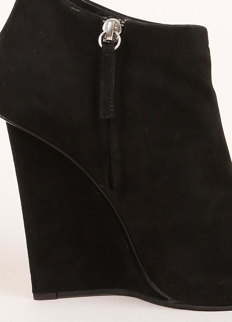Giuseppe Zanotti Black Suede Silver Wedge Booties Detail