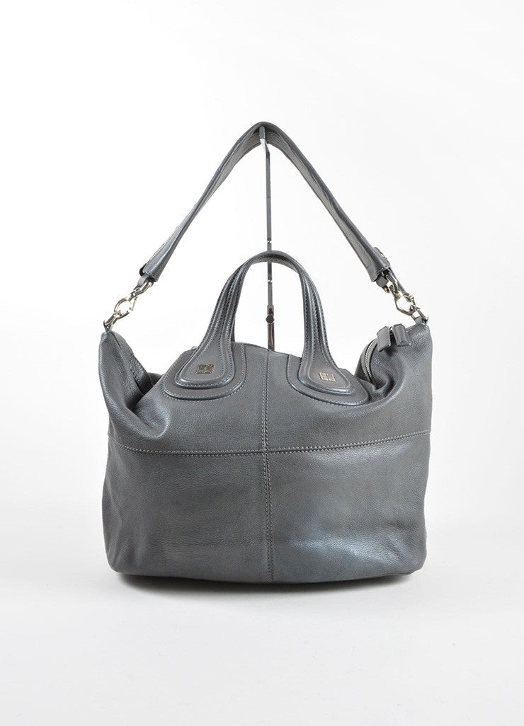 "Givenchy Grey Leather Paneled Large Carryall ""Nightingale"" Tote Bag Frontview"