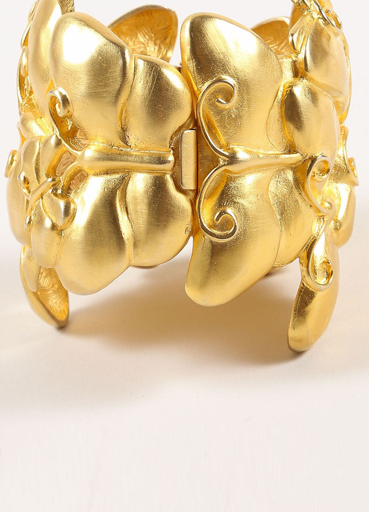 Givenchy Matte Gold Toned Chunky Butterfly Statement Bracelet Detail