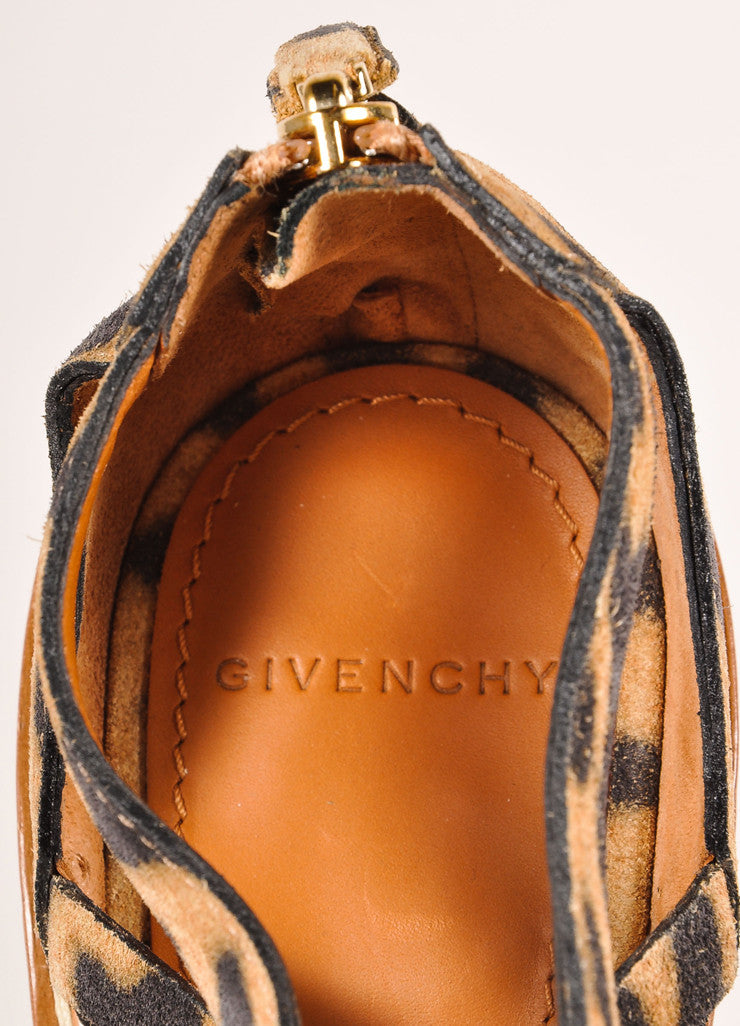 Givenchy Leopard Print Suede Strappy Cage Peep Toe Heels Brand