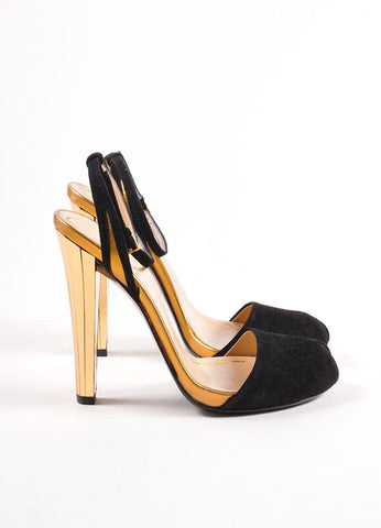 "Gucci Black and Gold Toned Suede Metallic Mirrored ""Delphine"" Sandals Sideview"