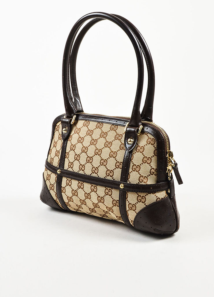 "Gucci Brown and Tan Canvas and Leather Monogram Striped ""Reins"" Shoulder Bag Sideview"