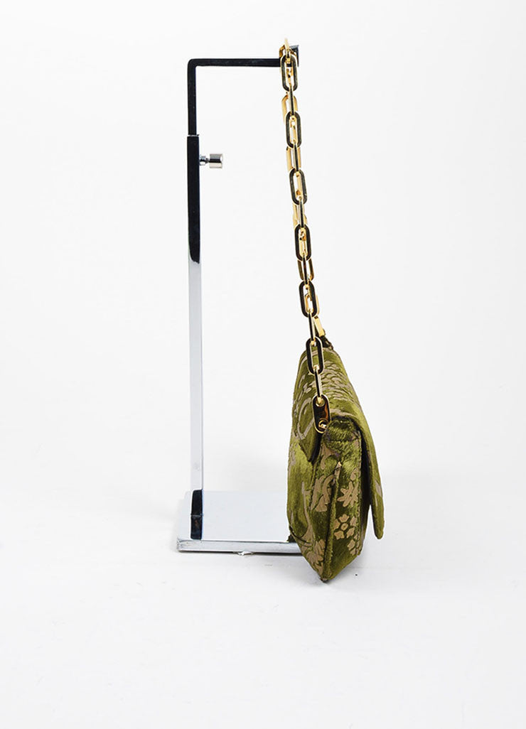 Green and Taupe Gucci Velvet Brocade Patterned Chain Link Strap Evening Bag Sideview