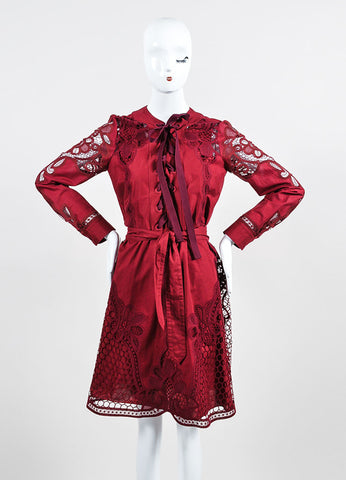 Cranberry Red Gucci Cotton Crocheted Lace Up Long Sleeve Dress Frontview