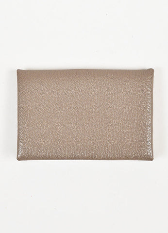 "Hermes Light Brown Mysore Leather ""Calvi"" Card Case Frontview"