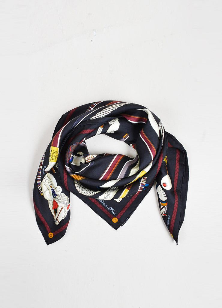 "Multicolor Hermes Silk Twill Cane Printed ""Les Cannes"" 90cm Scarf Frontview"