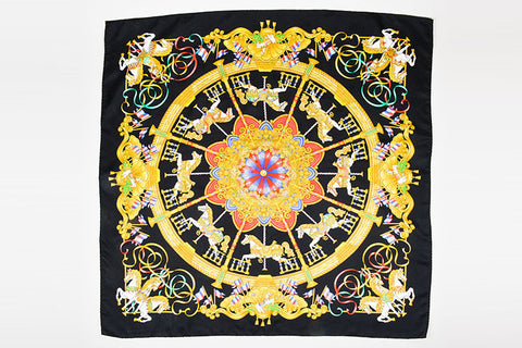 "Hermes Black and Multicolor Silk ""Luna Park"" Print 90cm Square Scarf Frontview 2"