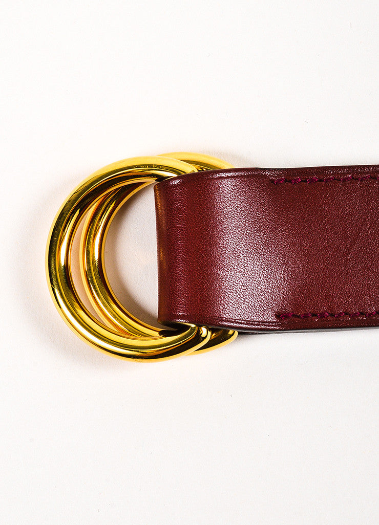 "Hermes Burgundy Red and Gold Toned Barenia Leather ""Romance"" Scarf Belt Ring Detail"