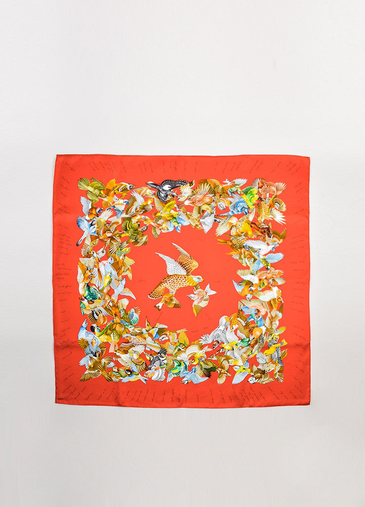 "Hermes Orange and Multicolor Silk ""L'Intrus"" Bird Print Square Scarf Frontview 2"