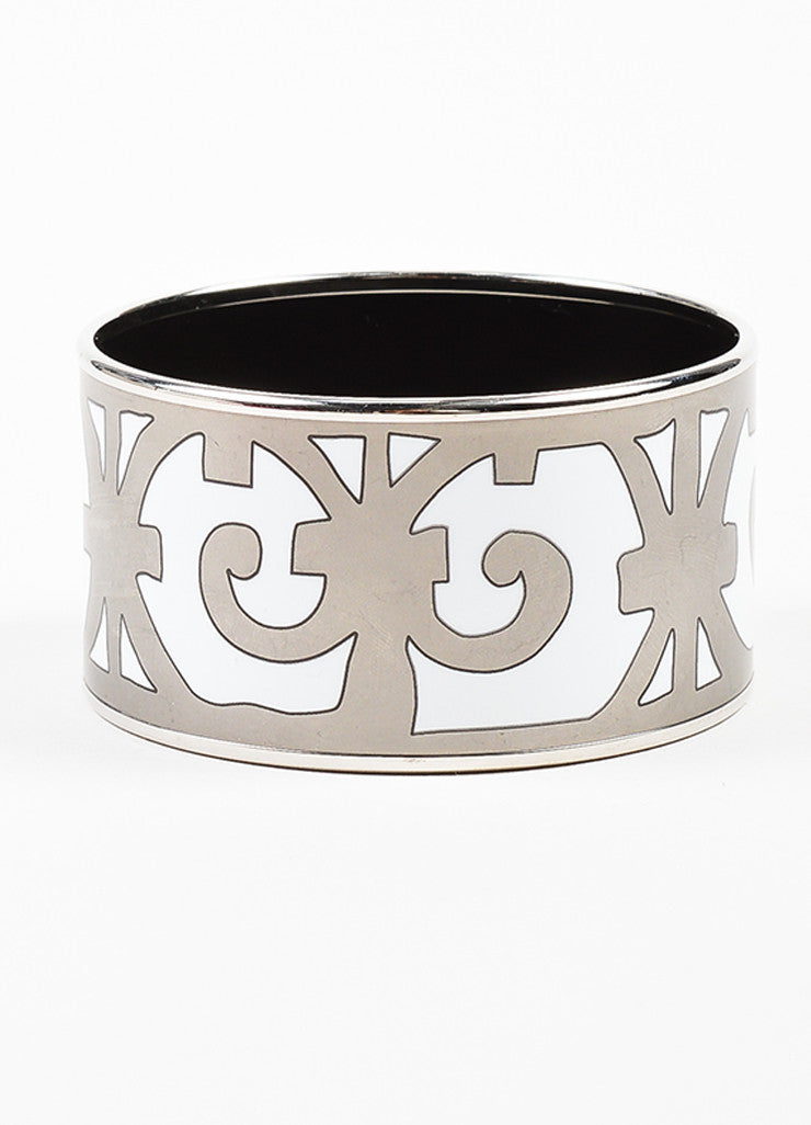 "Silver Toned and White Enamel Hermes ""Balcons du Guadalquivir"" Bangle Bracelet"