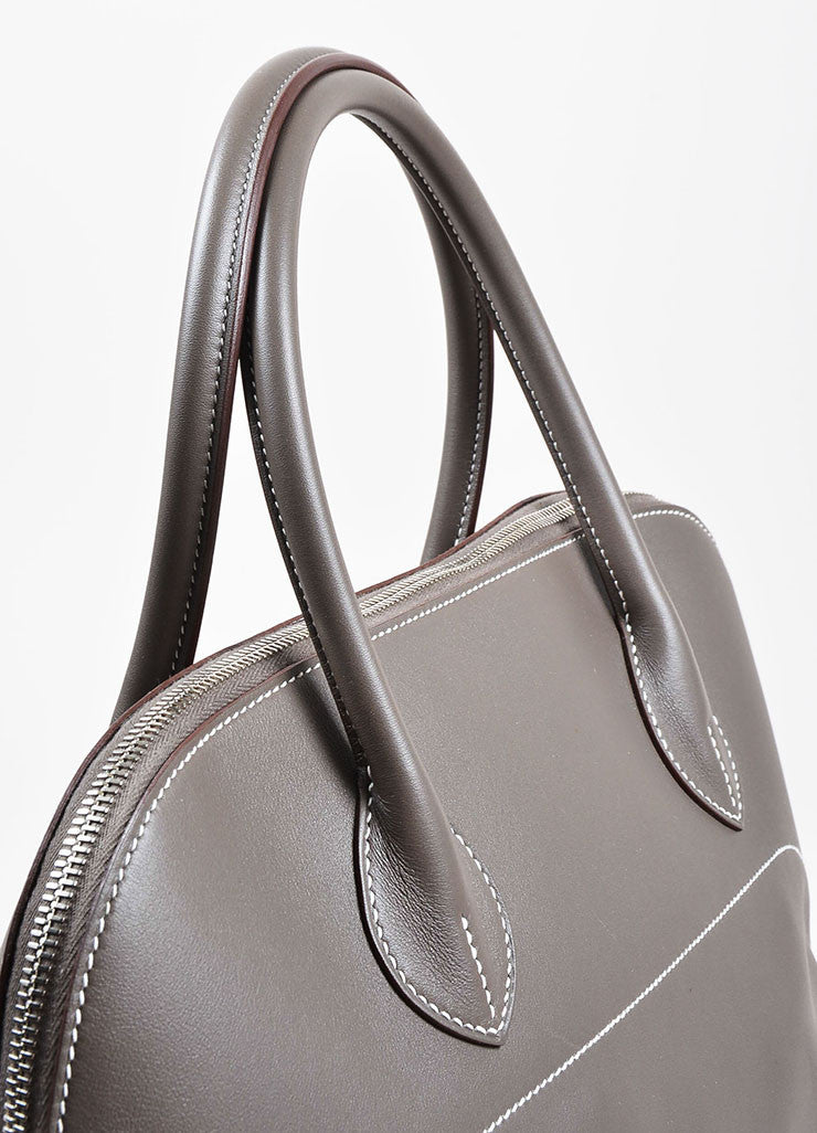 "Hermes 'Vert de Gris' Grey Barenia Leather ""Relax Bolide"" 40cm Tote Bag Detail 2"