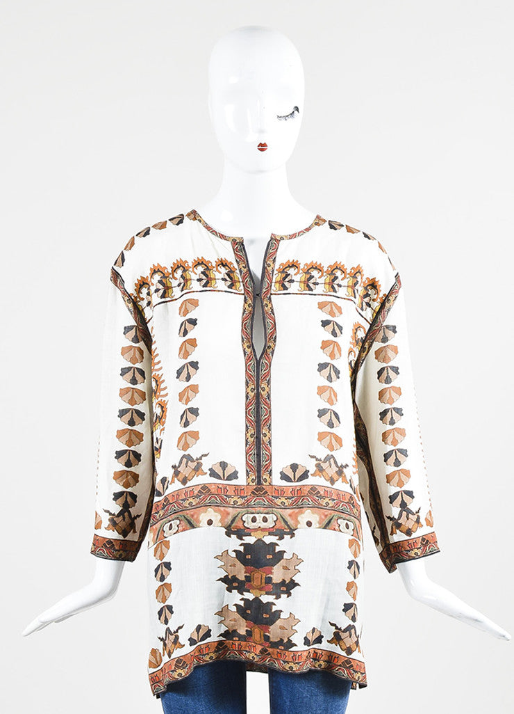 Cream, Brown, and Orange Isabel Marant Printed Tunic Top Frontview