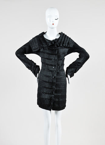 Issey Miyake Black Accordion Long Sleeve Shirt Dress Frontview