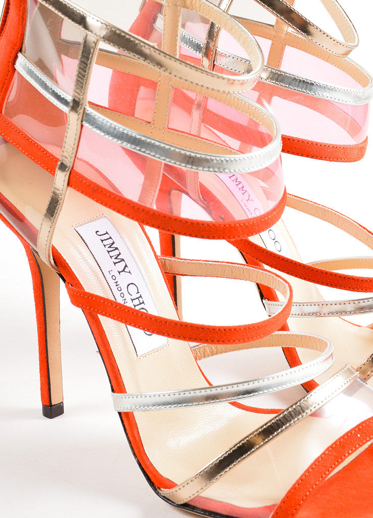 "Jimmy Choo Red and Silver Suede Leather Strappy ""Maitai"" Sandals Detail"