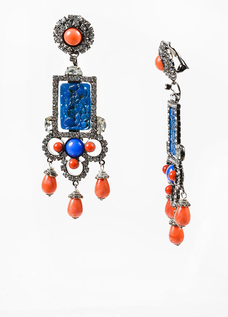 Blue and Orange Lawrence Vrba Rhinestone Carved Stone Clip On Statement Earrings Sideview