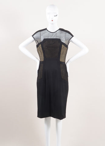 Lela Rose New With Tags Black and Nude Wool Blend Mesh Insert Sleeveless Shift Dress Frontview