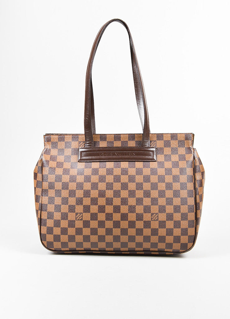"Brown Louis Vuitton Coated Canvas Damier Print ""Paroli PM"" Shoulder Bag Frontview"