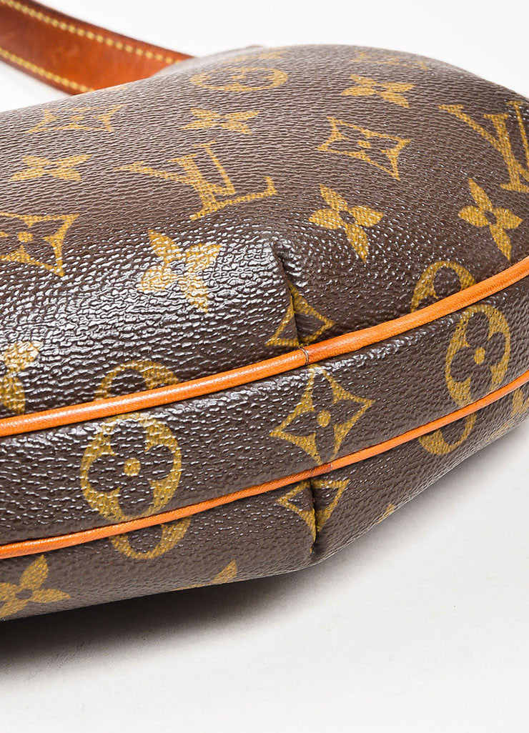 "Brown and Tan Louis Vuitton Coated Canvas Monogram ""Croissant PM' Shoulder Bag Bottom View"