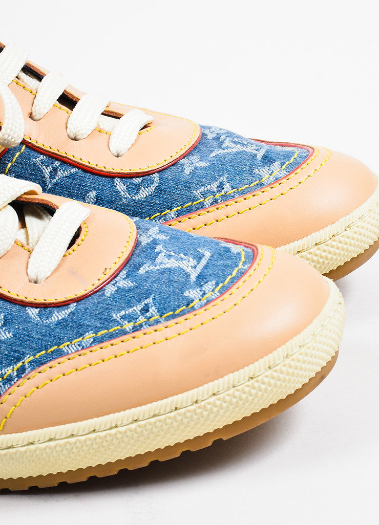 Louis Vuitton Blue Denim and Tan Leather Monogram Logo Lace Up Sneakers Detail
