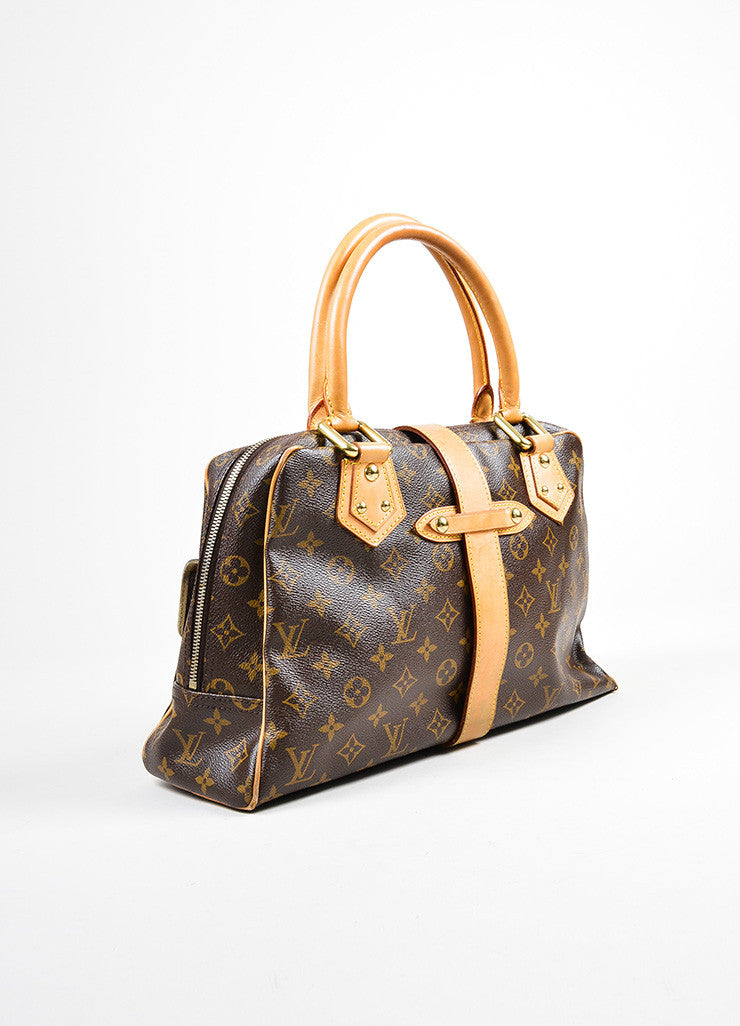 "Brown and Tan Louis Vuitton Canvas and Leather LV Monogram ""Manhattan GM"" Statement Bag Sideview"