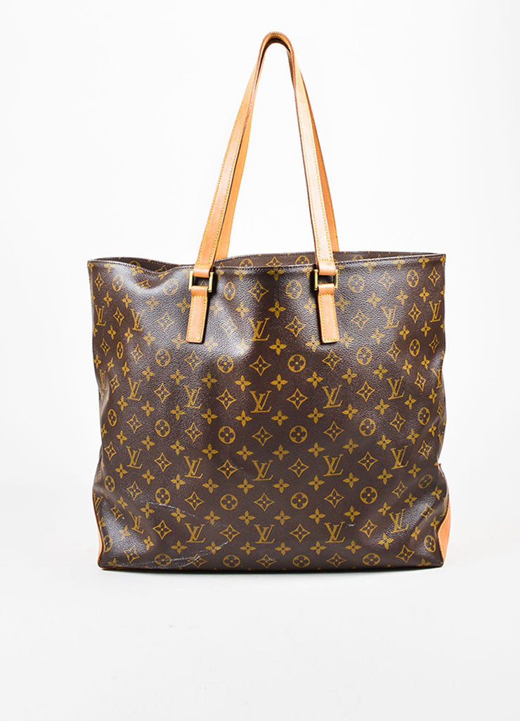 "Tan and Brown Louis Vuitton Coated Canvas Leather Trim ""Cabas Alto"" Tote Bag"