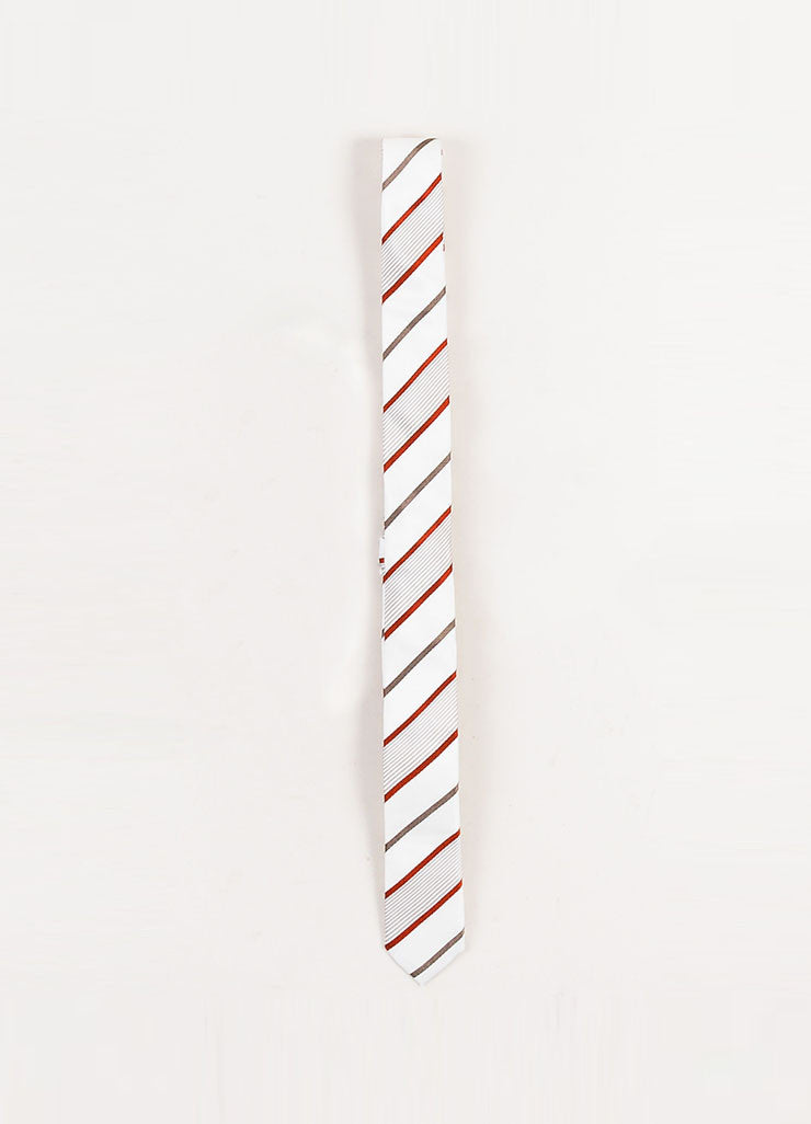 Men's Dolce & Gabbana Cream Grey Red Silk Striped Skinny Tie Detail