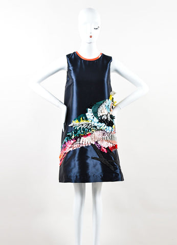 "Navy MSGM Silk and Sequin Bird Sleeveless ""Technical Duchesse"" Shift Dress Frontview"