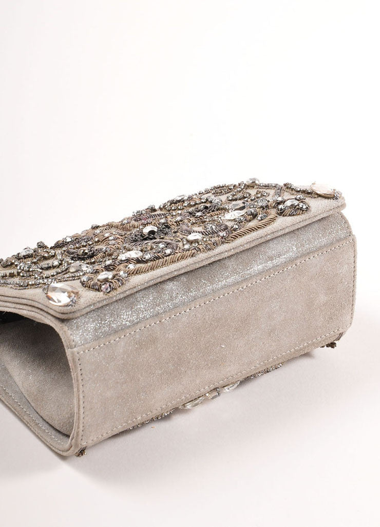 Marchesa Grey Suede Leather Metallic Embroidered Jeweled Clutch Bag Bottom View