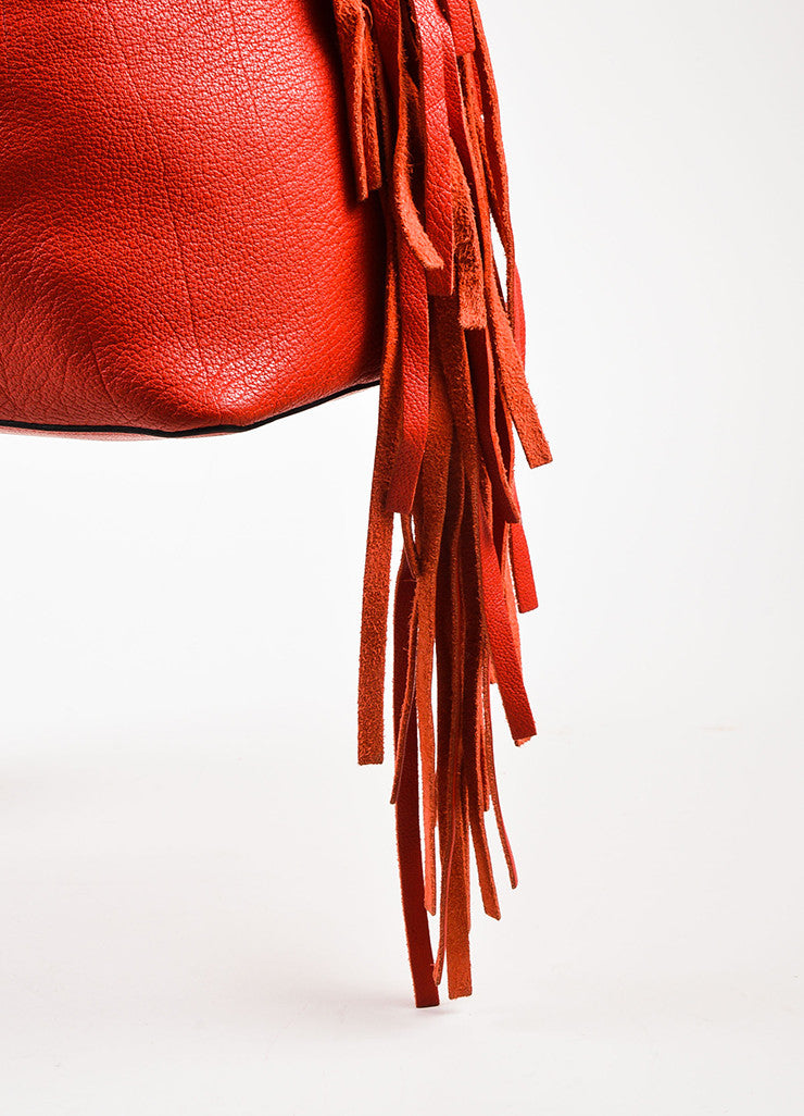 Marni Red and Gold Toned Grained Leather and Suede Fringe Hobo Bag with Pouch Detail 2