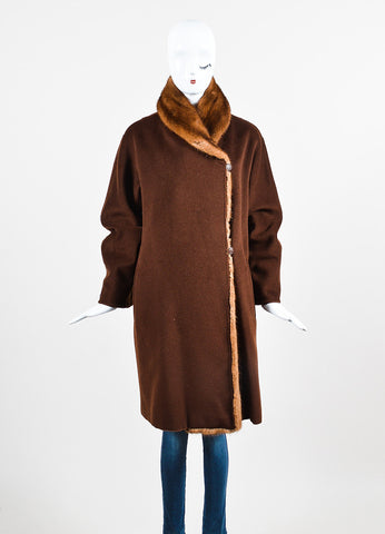 Brown Max Mara Wool Mink Trim Long Sleeve Wrap Coat Frontview 2