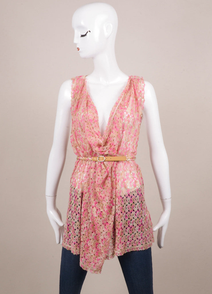 Missoni Pink and Tan Knit Belted Sleeveless Draped Tunic Top Frontview