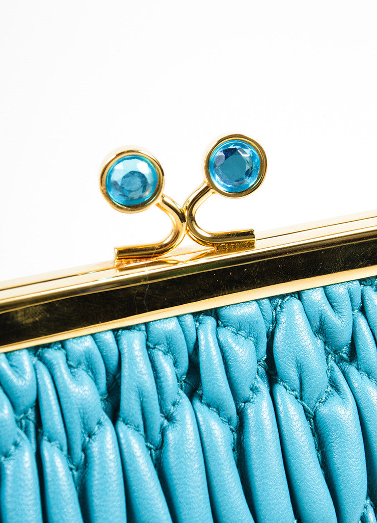 Miu Miu Teal Blue Matelasse Leather Textured Quilted Rhinestone Clutch Bag Detail 2