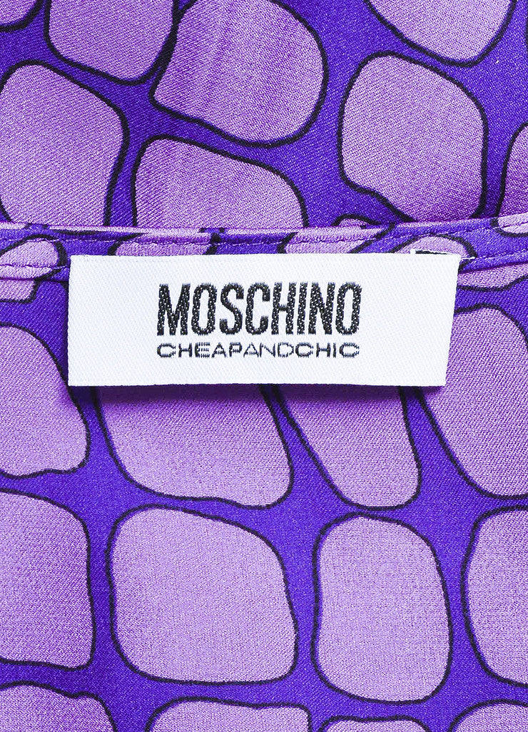 Moschino Cheap and Chic Purple Silk Reptile Print Ruffle Dress Brand