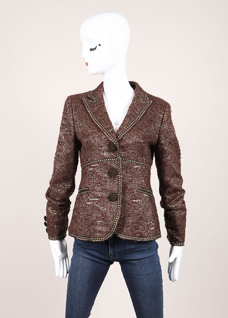Moschino Cheap and Chic New With Tags Brown Metallic Gold Wool Boucle Blazer Frontview