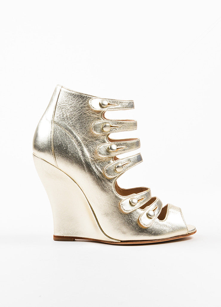 "Oscar de la Renta Gold Metallic Leather Strappy ""Dakota"" Wedge Booties Sideview"