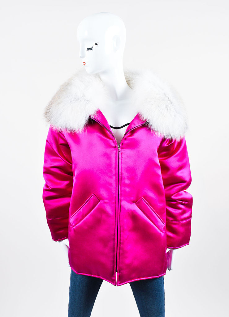Magenta and White Oscar de la Renta Silk Fox Fur Collar Padded Winter Coat  Frontview