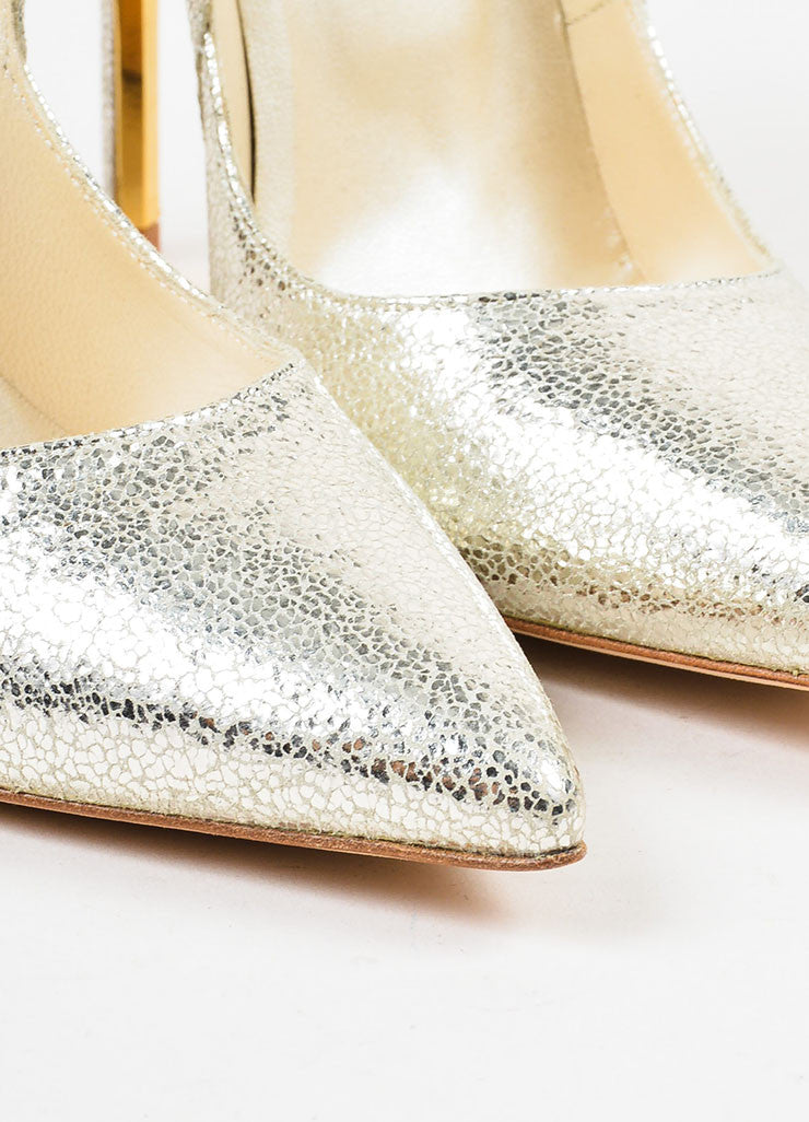 "Oscar de la Renta Metallic Silver Cracked Leather ""Sabrina"" Pumps Detail"