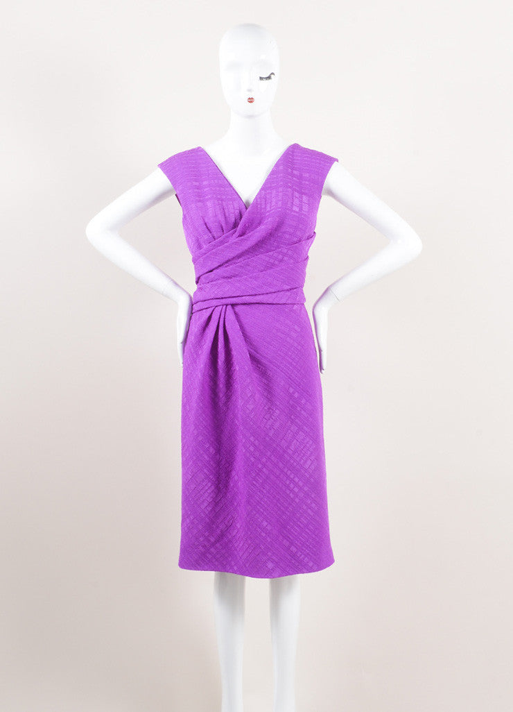 Oscar de la Renta New With Tags Purple Textured Wrap Bodice Sleeveless V-Neck Dress Frontview