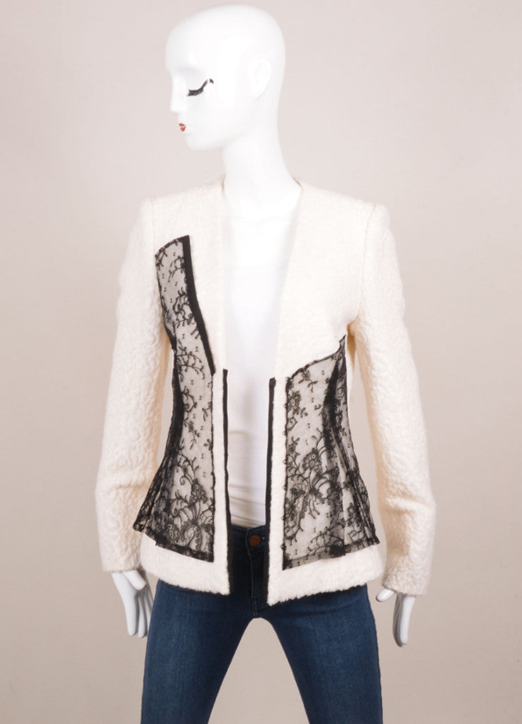 Prabal Gurung Ivory and Black Wool and Silk Lace Overlay Jacket Frontview