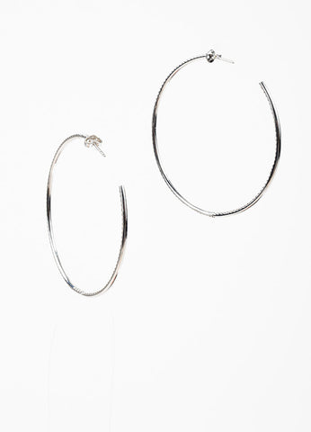 18k White Gold and Micro Pave Diamond Roberto Coin 55mm Open Hoop Earrings backview