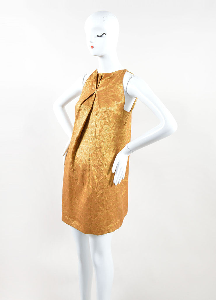 Roland Mouret Metallic Gold Silk Blend Geometric Sleeveless Mini Dress Sideview