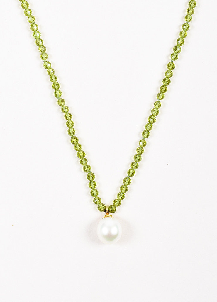 Tiffany & Co. Green 18K Yellow Gold Pearl Peridot Stone Pendant Necklace Detail