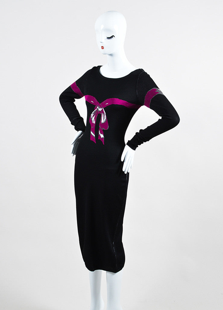 Black and Fuchsia Alaia Long Sleeve Bow Bodycon Dress Sideview