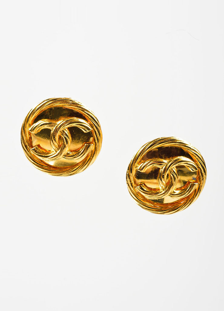 Gold Toned Chanel 'CC' Logo Circle Button Clip On Earrings Frontview
