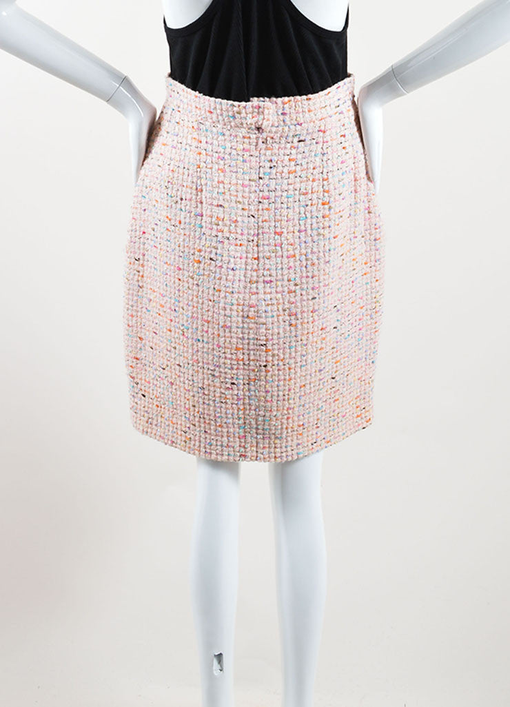 Chanel Pastel Pink and Multicolor Wool Tweed Pencil Skirt Backview