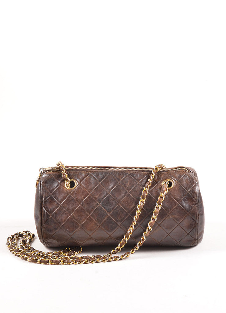 "Chanel Brown Leather Quilted ""CC"" Chain Strap Bowler Shoulder Bag Frontview"