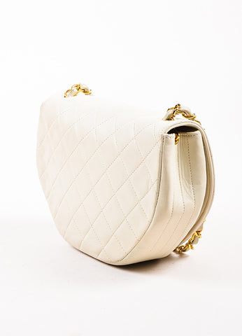 Chanel Cream Leather Quilted Hexagonal 'CC' Turn Lock Cross Body Flap Bag Sideview
