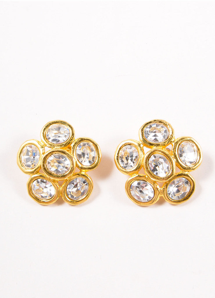 Chanel Gold Toned and Clear Oversized Jeweled Floral Earrings Frontview